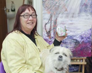 Trish - Resident artist at Studio 2 (with Bentley the dog)